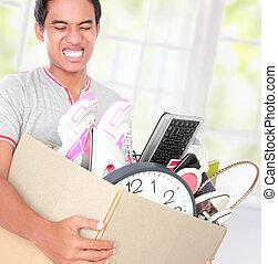 em movimento, day., homem, com, papelão, caixa,