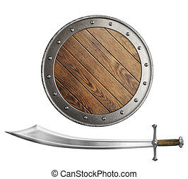 medieval wooden shield and sword or saber isolated on white