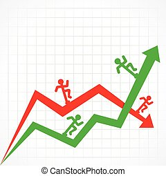 Up & Down graph with running man - Up and Down business...