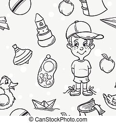 Seamless texture of children's toys for the boy in black contour
