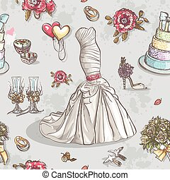 Seamless texture with the image of wedding dresses, glasses,...