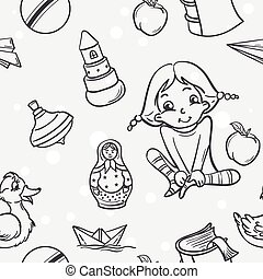 Seamless texture of children's toys for the girls in black conto