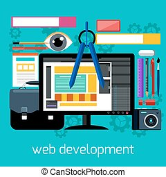 Web design and development flat concept