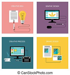 Creative process, branding graphic design icon set