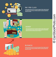Business money and pay per click - Flat design concept of...