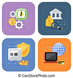 Banking and finance investment icon set