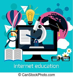 Distance education with internet services concept - Concept...