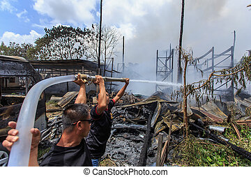 Phuket, THAILAND OCT 16: Fire in Superstore - catch fire in...