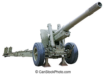 Powerful howitzer - Powerful howitzer Isolated on white...