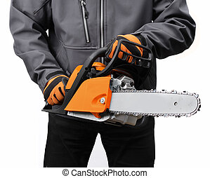 Chain saw in male workers hands - New chain saw in male...