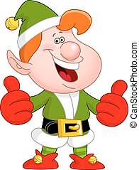 Thumbs up elf - Cheerful Christmas elf showing thumbs up