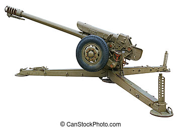 Howitzer side view - Howitzer side view Isolated on white...