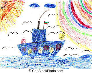 Childrens artwork ship in sea - Childrens painting ship in...