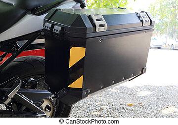 lado, bolsa, de, motocicleta,