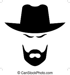 American cowboy head - Editable vector file. eps and 300 dpi...