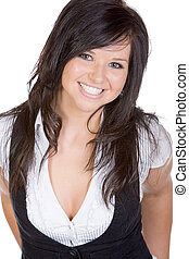 Shot of a Pretty Teenager Smiling against White Background