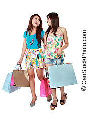 happy two shopping girl holding bags - happy two shopping...