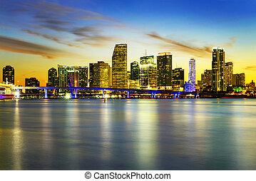 Miami city by night - Miami city skyline panorama at dusk...