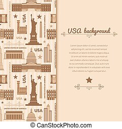 Landmarks of United States of America vector background with...