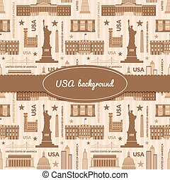 Landmarks of United States of America vector background -...