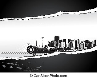 Big City - Grunge styled tear paper illustration