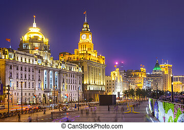 Shanghai, China at the Bund - Shanghai, China cityscape on...