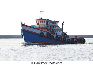 tugboat running in river isolated w