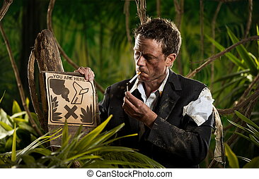 Businessman smoking in the jungle - Businessman lost in...