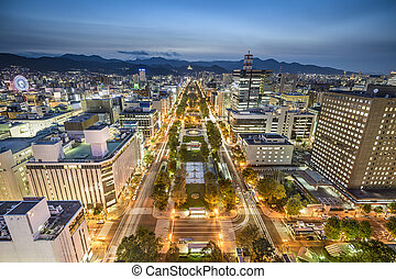 Sapporo, Japan City Skyline - Sapporo, Japan downtown city...