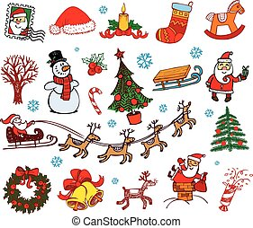 Christmas doodle symbols - Hand drawn symbols for banners,...