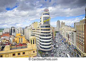 Gran Via, Madird, Spain Cityscape - MADRID, SPAIN - OCTOBER...