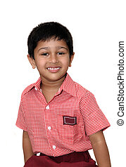 School Kid - An handsome Indian immigrant kid wearing an...