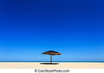 sol, guarda-chuva, em, a, praia, em, Phuket, tailandia,