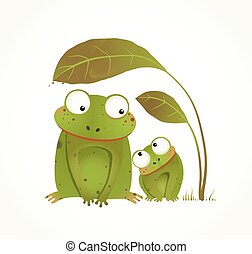 Two Frogs Mother and Baby Childish Animal Cartoon - Hand...