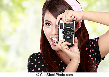 Beautiful woman with vintage camera - Closed up Beautiful...