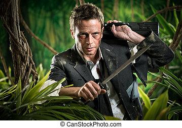 Surviving business jungle - Confident strong businessman...