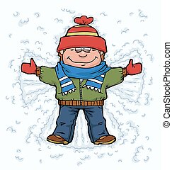 Boy angel in the snow vector illustration