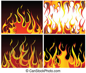 fire backgrounds set - Inferno fire vector backgrounds set...