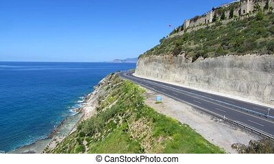 Road in Turkey - The road along the sea coast in Alanya,...