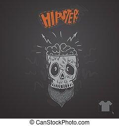 Hipster Skull Background