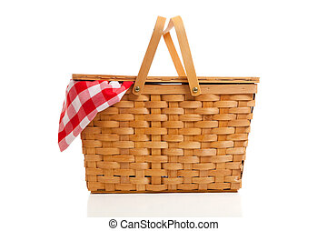 Wicker Picnic Basket with Gingham Cloth - A brown wicker...