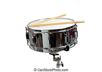 Snare Drum - A snare drum with drum sticks on a white...