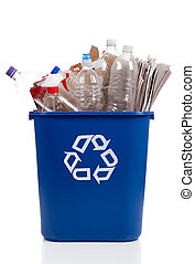 Recycle Bin - An overflowing blue recycle bin full of...