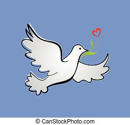 Dove of peace with tulip