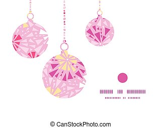 Vector pink abstract triangles Christmas ornaments silhouettes pattern frame card template