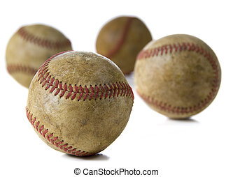 Vintage Antique baseballs on white - Old, antique baseballs...