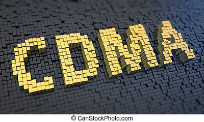 CDMA cubics - Word 'CDMA' of the yellow square pixels on a...