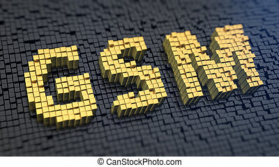 GSM cubics - Acronym 'GSM' of the yellow square pixels on a...
