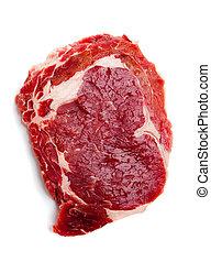 Fresh Beef Ribeye Steak - Fresh Beef ribeye steak on white...