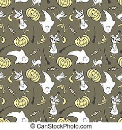 Halloween seamless pattern with smiling ghost, pumpkin,...